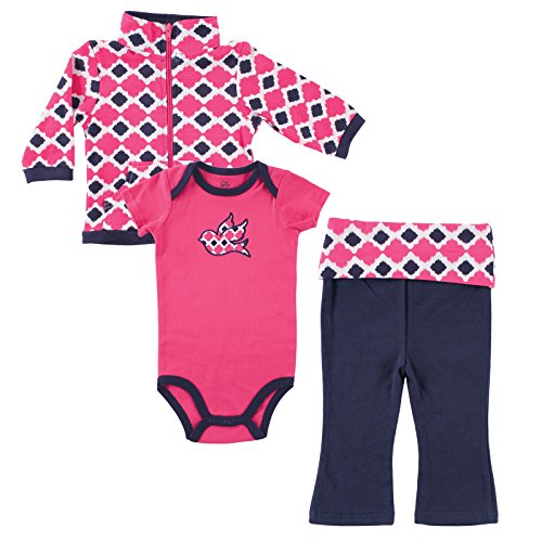 Yoga Sprout Infant 3 Piece Jacket, Top and Pant Set, Girl Bird