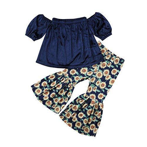 2PCS Baby Girl Off Shoulder Tube Top Shirt+Ruffle Floral Pants