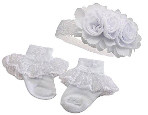 """""""Petals"""" Baby Girl White Baptism or Christening Socks"""