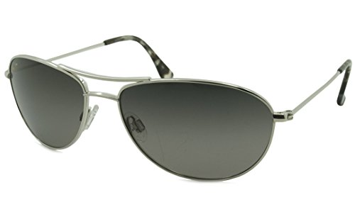 Maui Jim Baby Beach Aviator Sunglasses, Silver Frame/Neutral Grey Lens