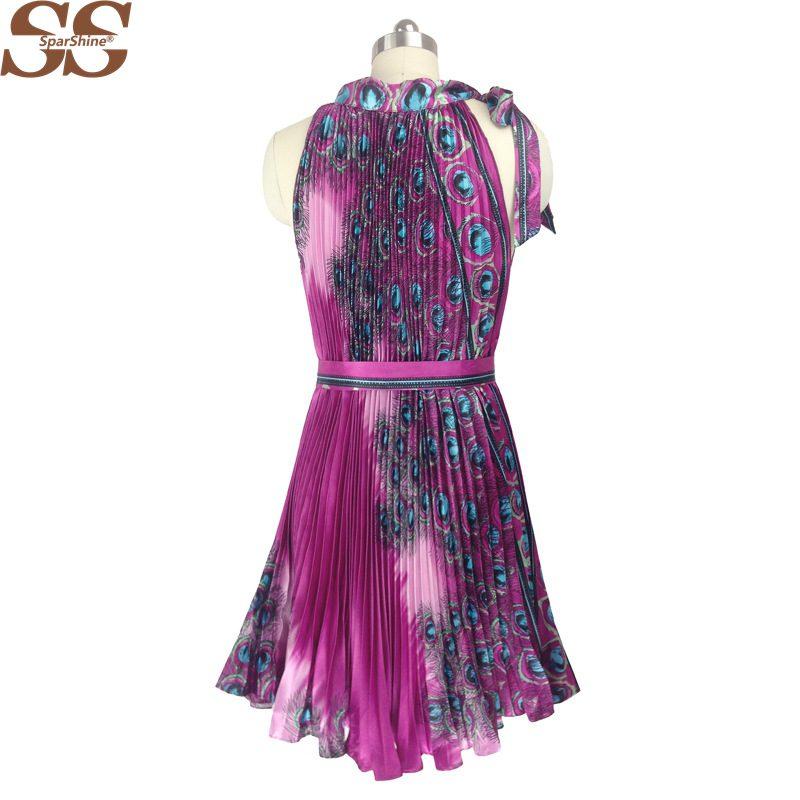 d6d1b686b0 19 Summer Dress Peacock Feather Print Women A-Line Pleated Dresses