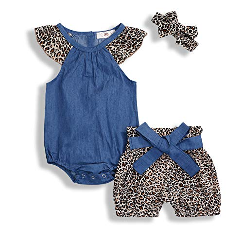 KCSLLCA Baby Girls Shorts Set Denim Ruffle Sleeve Top