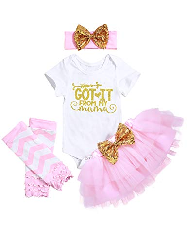 Mother's Day Outfit Newborn Baby Girls Clothes Rompers Tutu Skirts