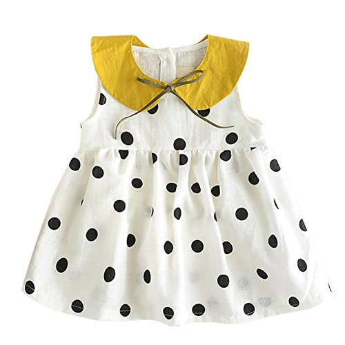 BOBORA Baby Girls Dress Polka Dot Print Sleeveless Top
