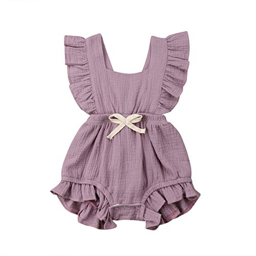 ITFABS Newborn Baby Girl Romper Bodysuits Cotton Flutter Sleeve