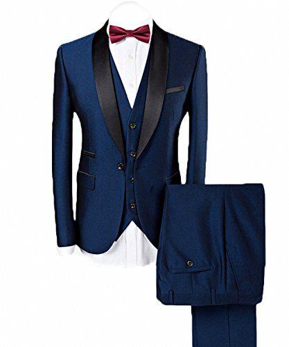 WEEN CHARM Men's 3-Piece Suit Slim Fit Shawl Lapel One Button