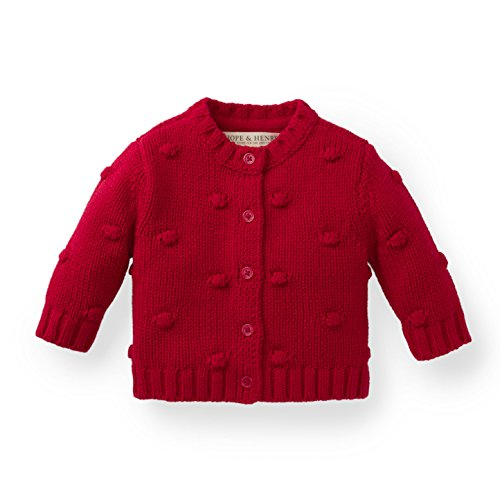 Hope & Henry Layette Girl Red Bobble Sweater
