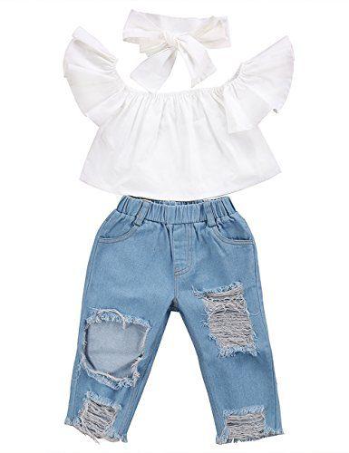 3pcs Baby Girls Kids Off Shoulder Lotus Leaf Top Holes Denim Jeans
