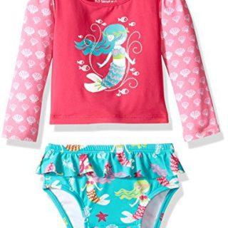Hatley Girls' Baby Rash Guard Set, Sweet Mermaid, 3-6M