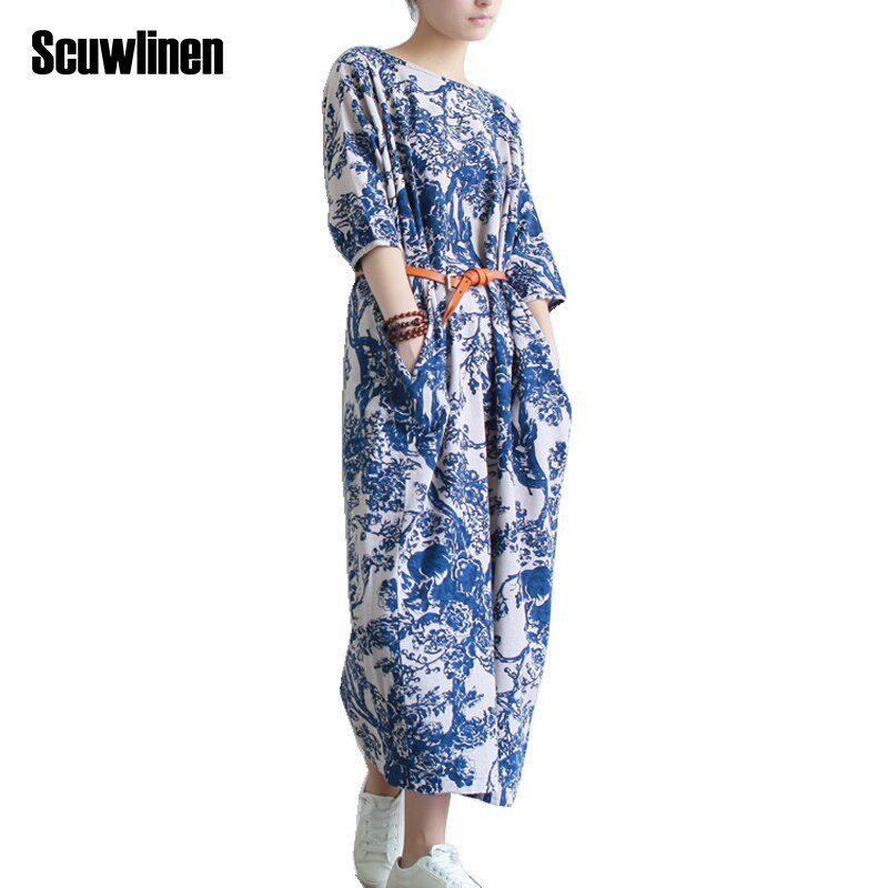 SCUWLINEN Vestidos Women Summer Dress Plus Size