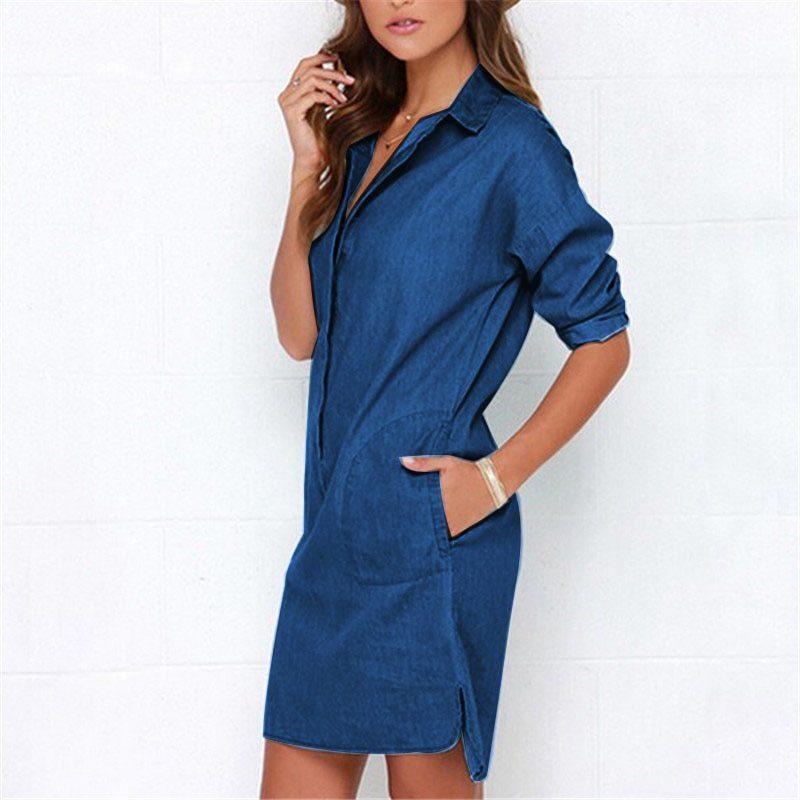 Casual Women Denim Shirt Dress Summer Irregular shirt dress