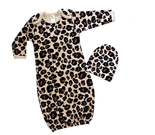 Laughing Giraffe Baby Girl Long Sleeve Sleeping Gown & Beanie Hat Set