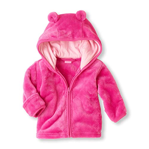 Noubeau Infant Baby Boys Girls Fleece Ears Hat Lined Hooded Zipper Up