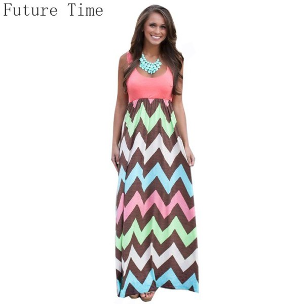 18 Hot Sexy Women Dress o-neck Striped Print Maxi dress