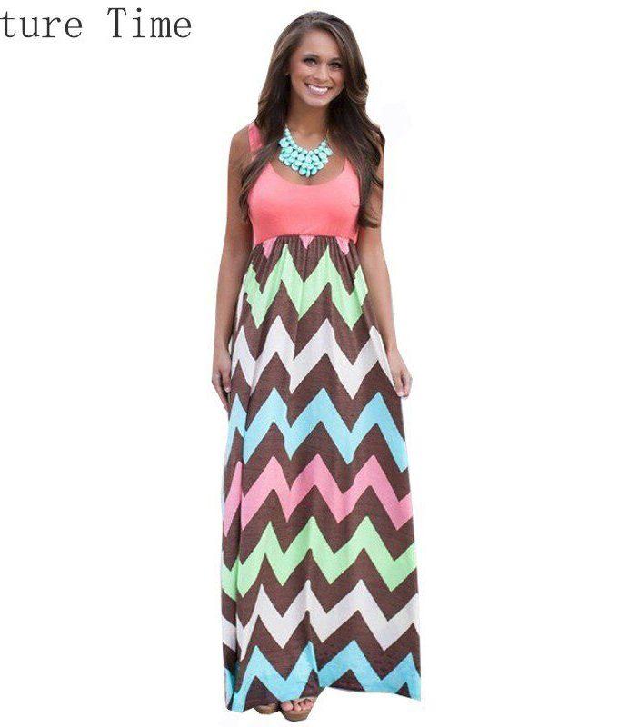 18 Hot Sexy Women Dress o-neck Striped Print Maxi dress