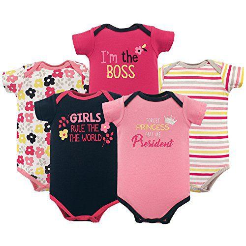 Luvable Friends Baby Infant Basic Bodysuit, 5 Pack, Girl President