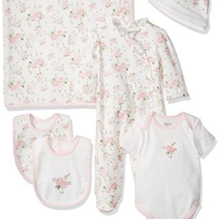 Little Me Baby Girls' Newborn Essentials Gift Set, Pink Floral 3 Months