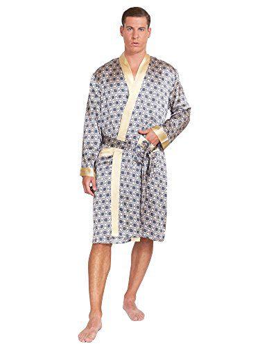 MYK SILK - Men's Robe Printed Bath Sleepwear Classic Silk