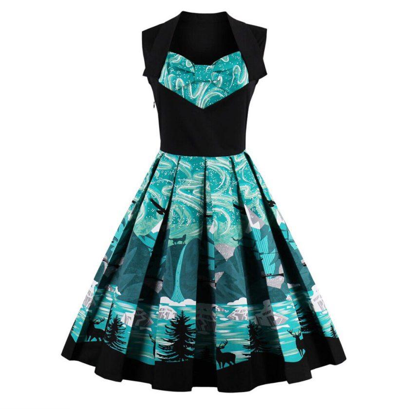 Brand New Vintage Dress Floral Print Luxury Short A-line Party Dress