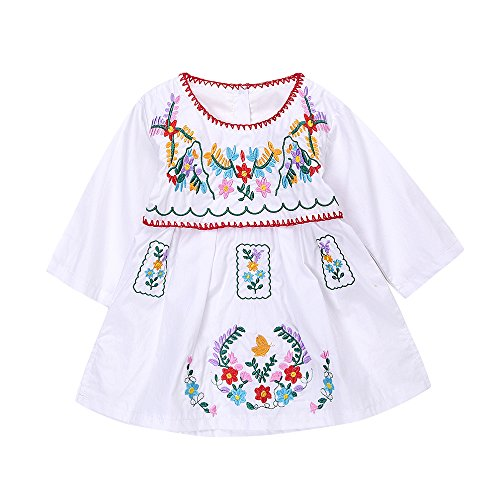 Newborn Toddler Baby Girls Ethnic Embroidery Floral Dress Long Sleeve