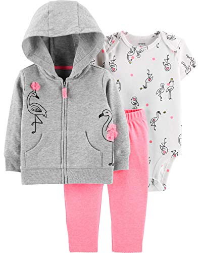 Carter's Baby Girls 3 Pc Jacket Set 3D Flamingo (6M)