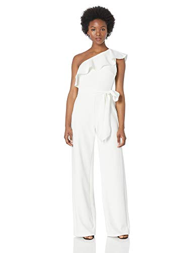 Adrianna Papell Women's Ruffle One Shoulder Jumpsuit