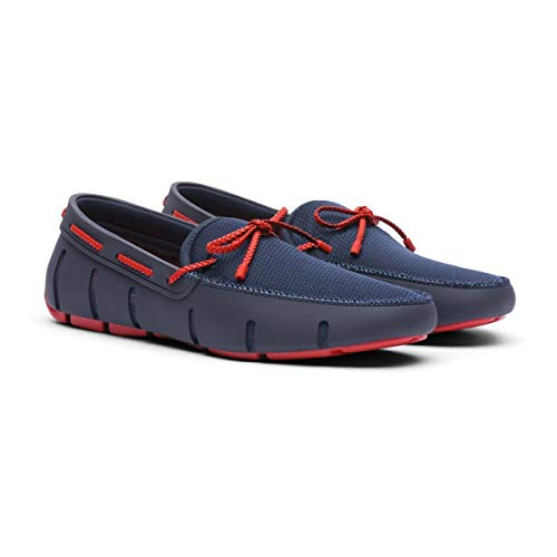 SWIMS Men's Braided Lace Loafer Navy/Red Alert