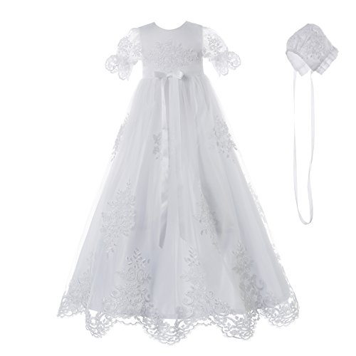 NIMBLE Baby Girls Baptism Delicate Embroideried Gown