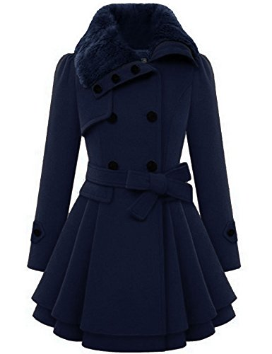Zeagoo Women's Fashion Faux Fur Lapel Double-breasted Thick Wool Trench
