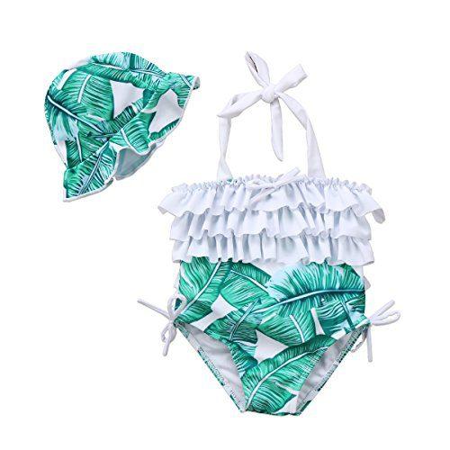 Baby Girl Leaf Swimsuit Ruffles Swimwear Halter Bathing