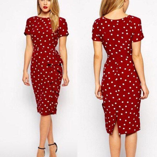 Summer Dress Women Dresses Polka Dot Slim large size