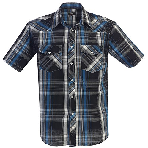Gioberti Men's Plaid Western Shirt, Turquoise, 3X Large