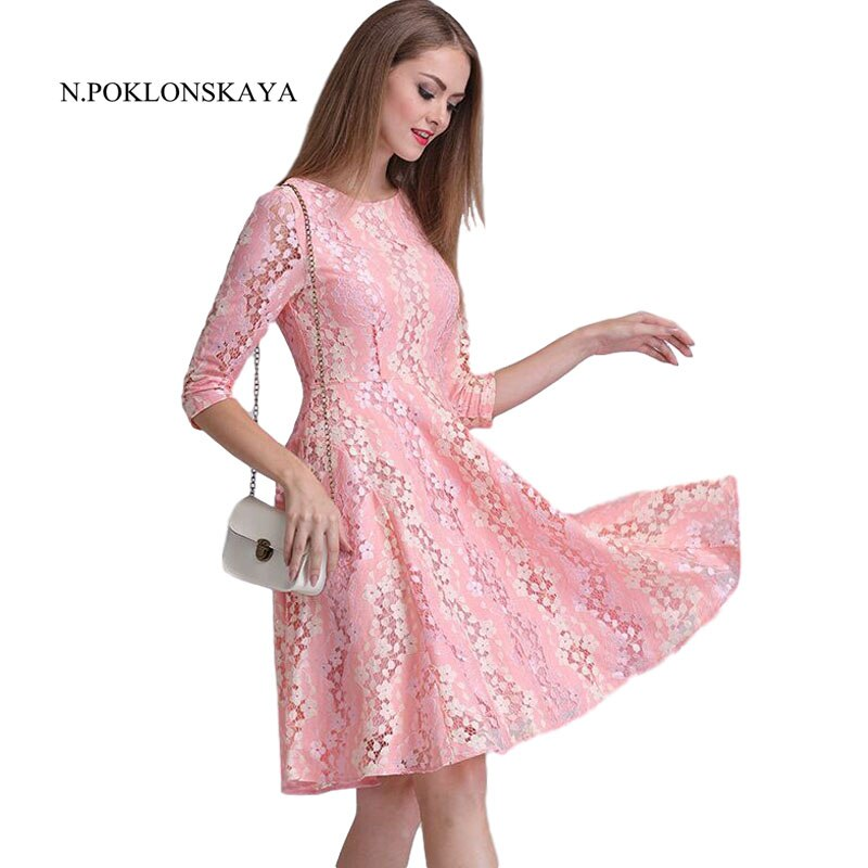 Spring Summer Dresses Hollow Out Women Floral Crochet Casual