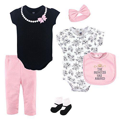Hudson Baby Clothing Set, 6 Piece, Princess, 0-3 Months