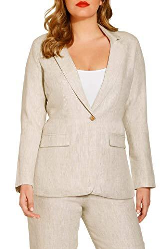 Beyond Proper by Boston Proper Women's Casual Linen One-Button Blazer