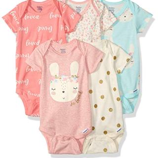 Gerber Baby Girls 3-Pack Organic Short-Sleeve Onesies Bodysuits
