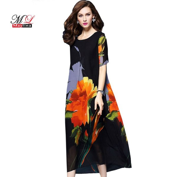MLinina Summer Dress Women 19 Loose Print Floral National Style