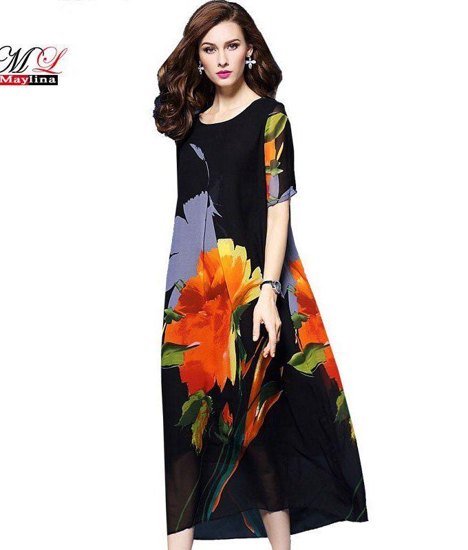 MLinina Summer Dress Women 19 Loose Print Floral National Style