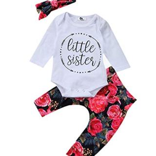 Baby Girls Little Sister Bodysuit Tops Floral Pants Bowknot Headband Outfits Set