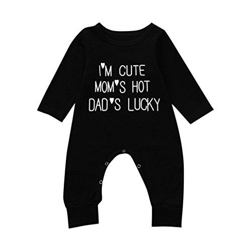 WARMSHOP Baby Romper Boy and Girl Black Cute Letter Print Long Sleeve