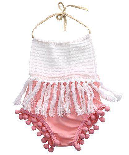 Baby Girls Halter Backless Splice Tassels Pompom Romper Sunsuit Clothes