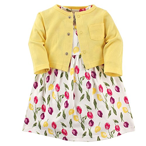 Luvable Friends Baby Girls' Dress and Cardigan Set