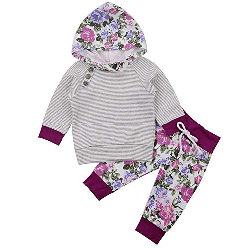 Newborn Baby Girls' 2 Pieces Long Sleeve Flowers Hoodie