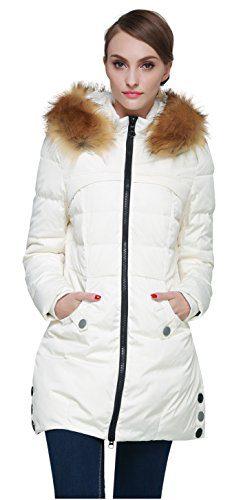 Orolay Women's Down Jacket with Faux Fur Trim Hood Beige M