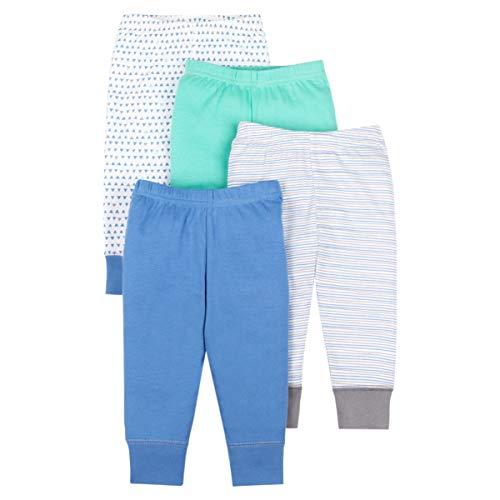 Lamaze Organic Baby Boys Baby Organic 4 Pack Pants, Blue Newborn