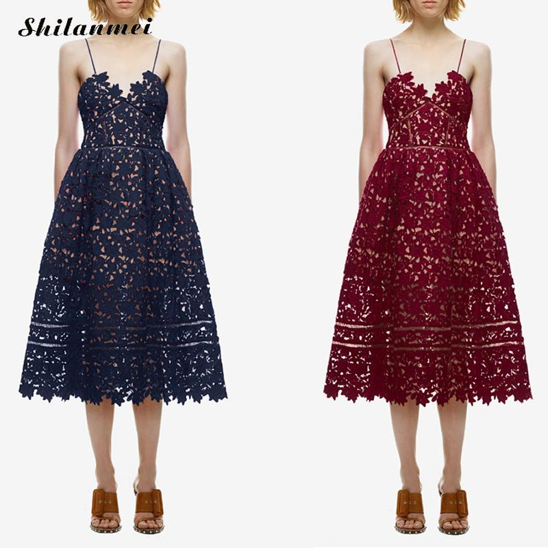 17 Runway Party Dress Women's Sexy Spaghetti Strap Lace Mid