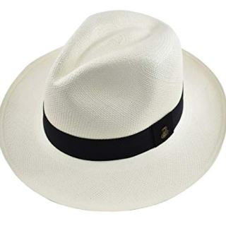 Original Panama Hat - White Classic Fedora - Black Band