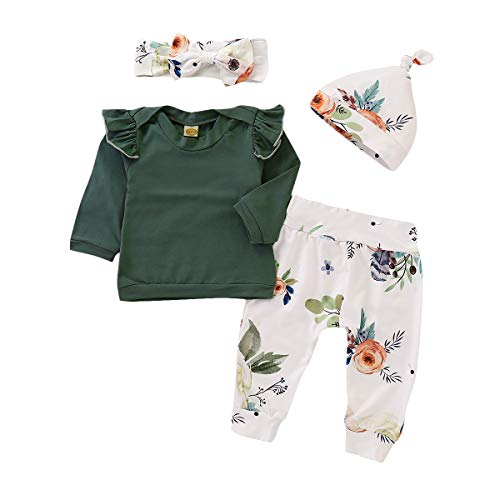 4 pcs Baby Outfits Newborn Baby Girls Clothes Set Ruffle Tops