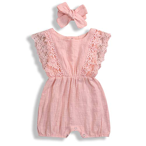 KCSLLCA Baby Girls Lace Romper Set Ruffle Sleeve Solid Color Onesie