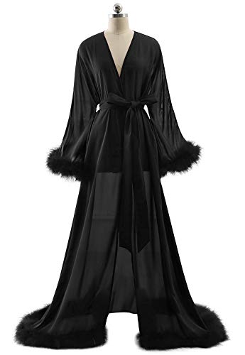 BBCbridal Women's Sexy Chiffon Feathers Long Lingerie Nightgown Robe